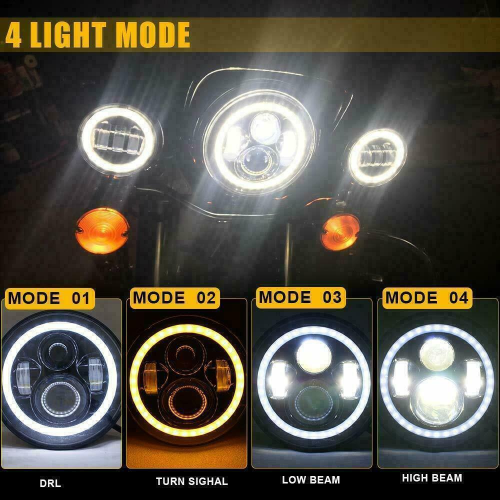 "как выглядит 7"" inch Led Headlight 4.5"" Fog Light For Yamaha V-Star XVS 650 950 1100 1300 фото"