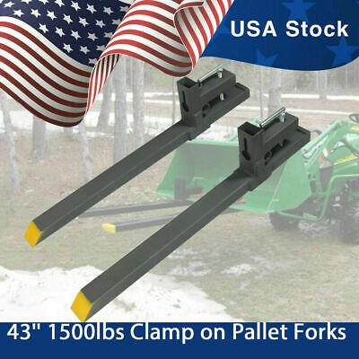 43 1500lbs Clamp On Pallet Forks Loader Bucket Tractor Stabilizer Bar