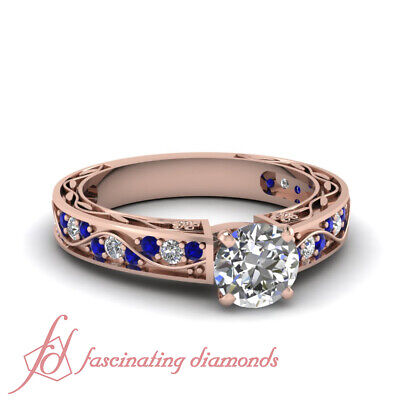 1 Carat Round Cut Diamond & Blue Sapphire Vintage Inspired Engagement Rings GIA