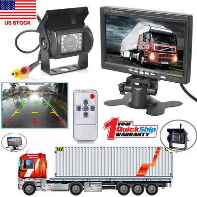 7  Tft Lcd Rear View Monitors  Reverse Backup Camera Kit Night Vision F Rv Truck