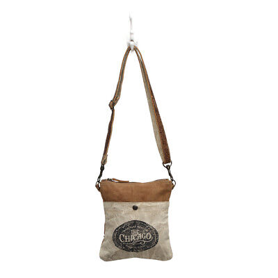 Detachable Front Pocket (CHICAGO Recycled Canvas Small Stenciled Bag Detachable Strap Front+Back Pocket  )