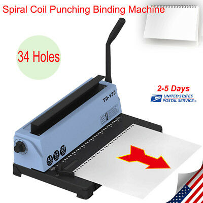 Spiral Coil Calendar Binding Machine 34 Hole Punching Binding Machine Usa Stock