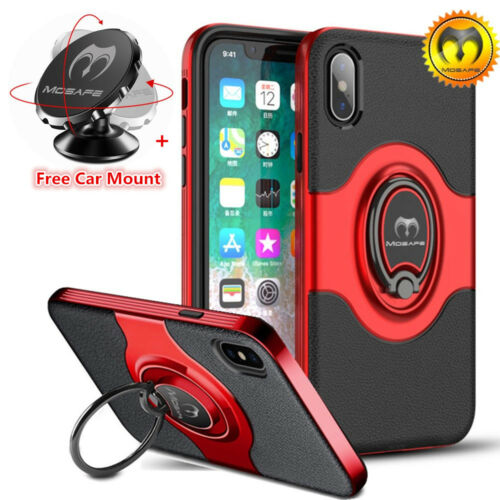 For iPhone X 6 6S 7 8 360° Ring Stand Magnetic Car Mount Sh
