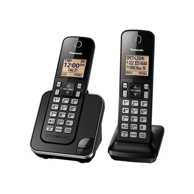 Panasonic - KX-TGC352B DECT 6.0 Expandable Cordless Phone System - Black