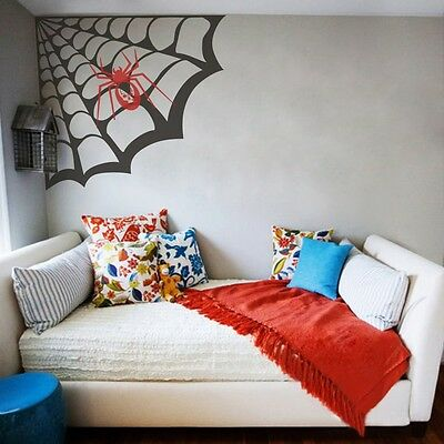 Halloween Living Room Decor (Spider Web Wall Decal Halloween Inspired Living Room Vinyl Art Removable)