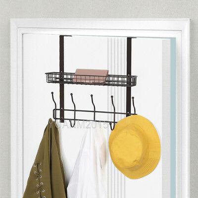 Over The Door 5 Hook Organizer Rack With Shelf for Coats, Hats, Robes, Towels