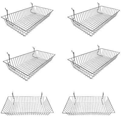 6pc 24x 12x 4 Shallow Basket Display Rack Chrome Metal Wire Slatwall