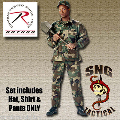 Ultra Force Camo (Ultra Force BDU SET! Woodland Camo Shirt, Pants & Cap)