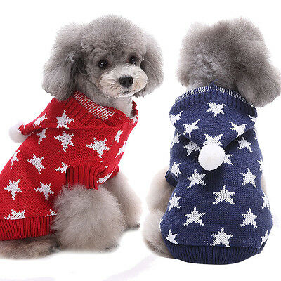 Stars Print Pet Dog Puppy High Collar Warm Clothes Outwear Sweater sy