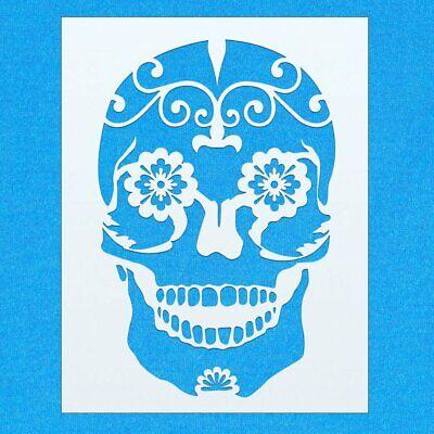 Sugar Candy Skull Bone Mylar Airbrush Painting Wall Art Crafts Stencil 2](Sugar Skull Stencil)