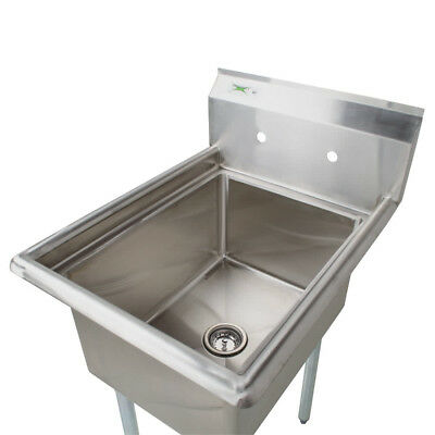 22 Stainless Steel One Compartment Commercial Sink No Drainboard 17x17x12 Bowl