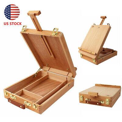 - Portable beech Wooden Paint Box Tabletop Desk Folding Art Artist Desktop US