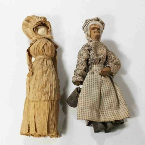 Vintage Woman with Bonnet Corn Husk Doll & Old Woman w/ Pail Wood Carved Doll
