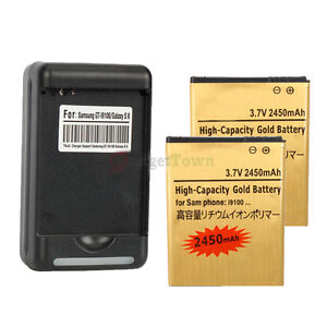 2x Gold 2450mAh High Capacity Battery + Charger for SamSung Galaxy S2 II I9100