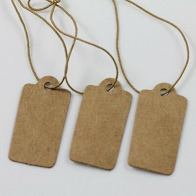 Hot 100x Jewelry Price Label Tags Blank Kraft Paper With Elastic String 30mm