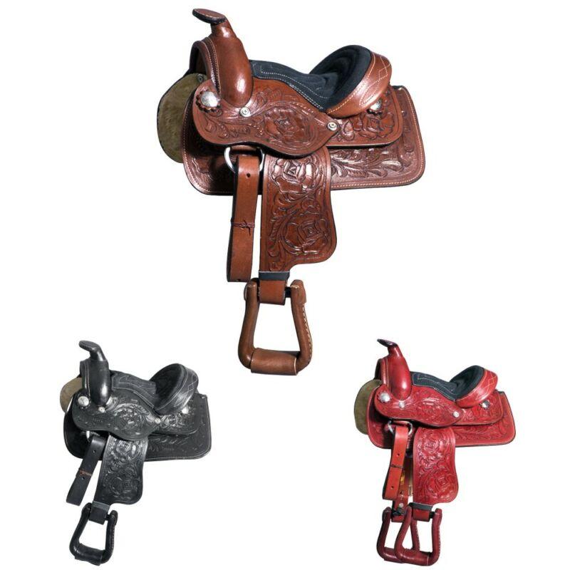 "8"" Kids Youth Children Miniature Pony Saddle Leather Western Toddler U-8-VX"