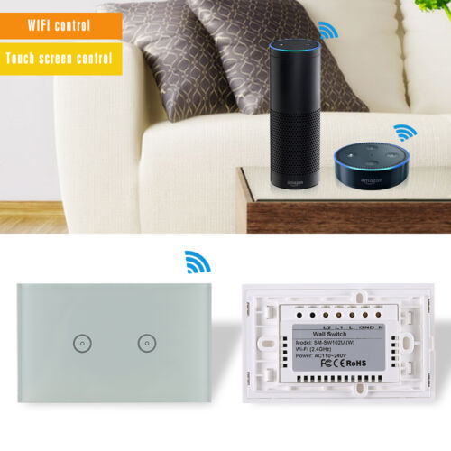 2 Gang Smart Touch Switch Panel Wireless Remote Control Wall light  for Alexa US
