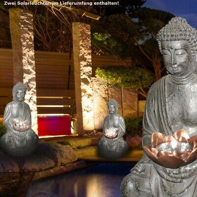 2er Set LED Solar Lámpara Jardín Flores Bancal Figura de Buda Camino