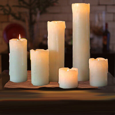 6 FLICKERING FLAMELESS LED PILLAR CANDLES Realistic Home Decor Timer Light 2-9