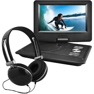 "Ematic 10"" Portable Swivel Screen DVD Player w/ Headphones, Car Mount - Black"