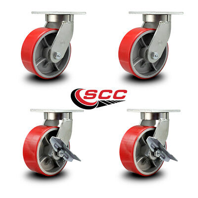 Scc 8 Extra Hd Red Poly On Metal Caster Set-2 Swivel Wbrake2 Swivel- Set 4