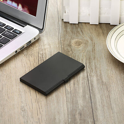 Professional Business Card Holder For Men Women Low Profile Black Metal Case
