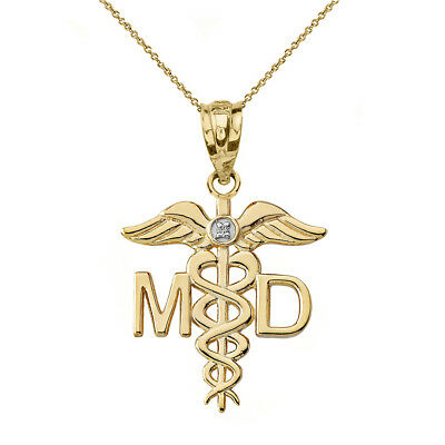 Solid 14k Yellow Gold Diamond MD Medical Doctor Wings Pendant Necklace