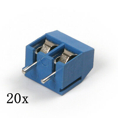 20pcs 2 Pin 5.08mm Blue Plug-in Pcb Screw Terminal Block Connector 300v 16a