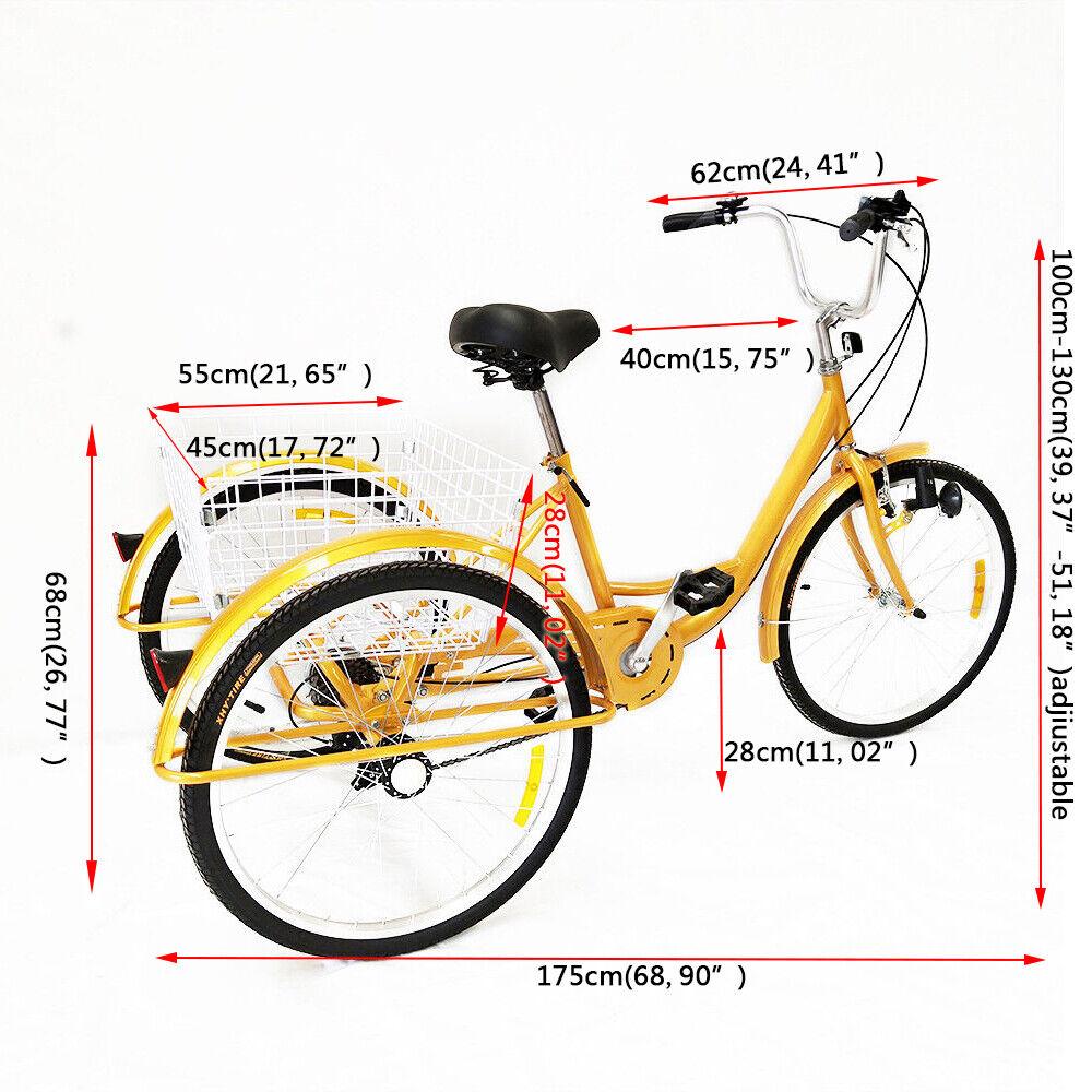 24Zoll Seniorenrad Dreirad Für Erwachsene Gelb Fahrrad ...