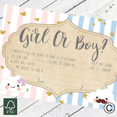 Baby Shower Games Prediction and Advice To Parent Cards Keepsake Baby Boy Girl - Boy And Girl Games