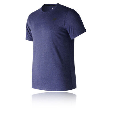 New Balance Mens Heather Tech Short Sleeve T Shirt Tee Top Navy Blue Sports Gym