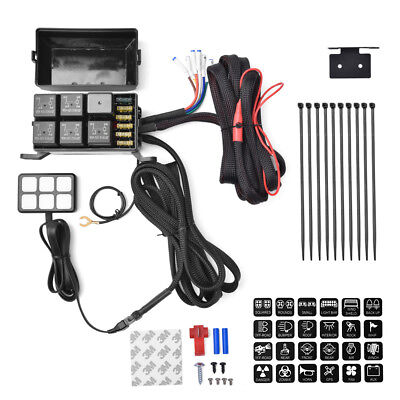 6 deviate panel relay Fuse control box + Harness for vehicle 12V DC power Touch