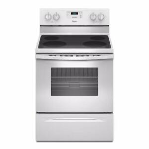Whirlpool / FRIGIDAIRE  30 inch. 5.8 cu. ft. Electric Smooth top Stove.  S/S WHITE/ BLACK. $499  NO TAX.