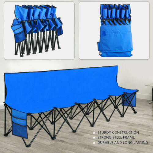 blue portable folding bench sideline