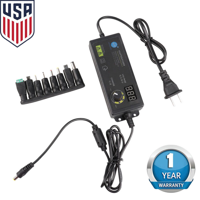 Adjustable Voltage 3 to 24V Power Supply Adapter AC /DC Switch with LED Display