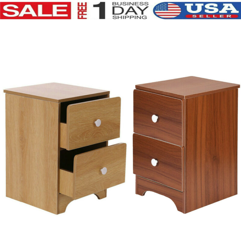 Wood Sofa End Side Bedside Table Nightstand W/1&2*Drawer Sto