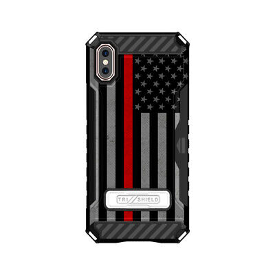 Trishield Hybrid Phone Case for Apple iPhone X,Xs Thin Red Line USA -