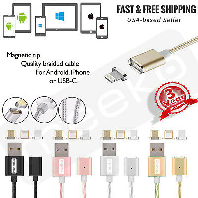 3 in 1 Magnetic Phone or tablet Charger Cable w/ Data  Android iPhone USB-C - 3f