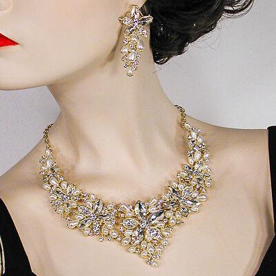 - Large Statement Pearl & AB Crystal Rhinestone Bib Necklace & Earring Set - J612