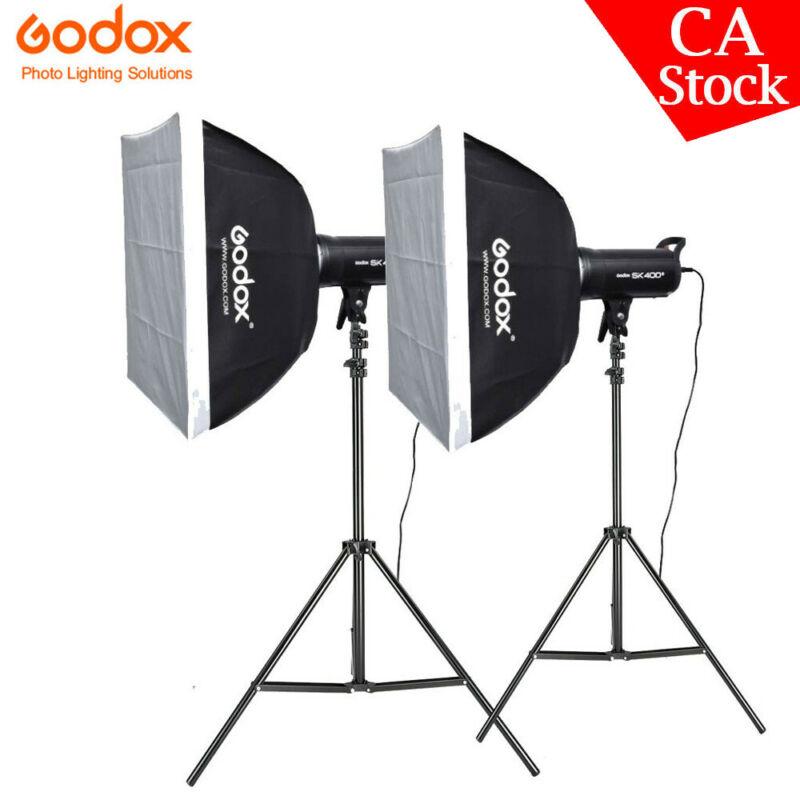 CA 2X Godox SK400II Studio Strobe Flash Light Head+60*60 Softbox Light Stand Kit