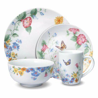 16 PC Flower Butterfly Dinnerware Dish Set Plate Bowl Mug Tableware Porcelain