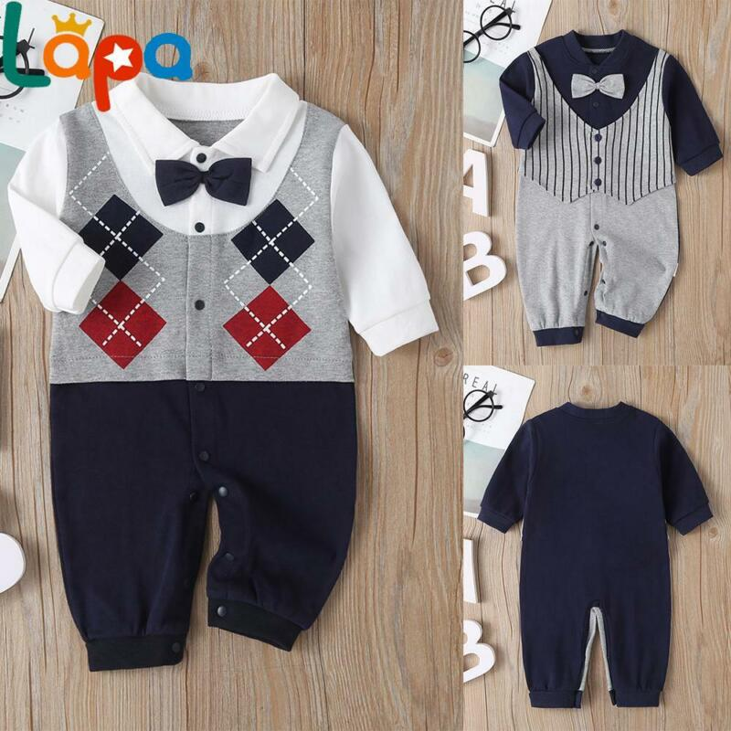 Baby Boys Bow Gentleman Outfits Set Romper Bodysuit Infant Formal Party Clothes