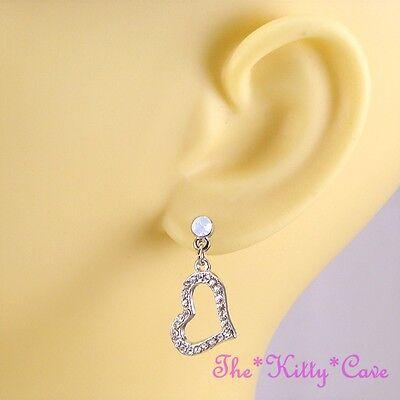 Vintage Deco Sparkling Silver Drop Hearts, Earrings w/ Opal Swarovski Crystals