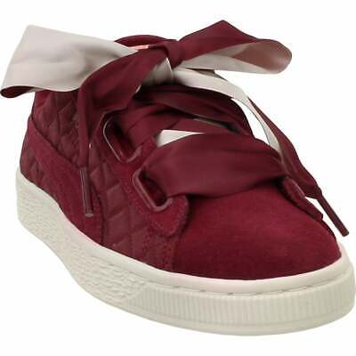 Puma Suede Heart Quilt Sneakers Casual    - Burgundy - Womens