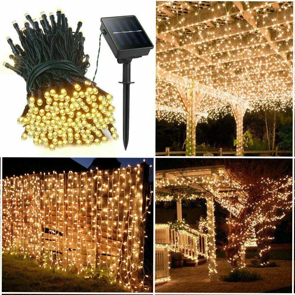 Warm White 100 LED Solar Powered Outdoor String Lights Garde
