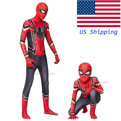 US Iron Spider Jumpsuits Spider-Man Cosplay Costume Boys Girls Spandex Bodysuits