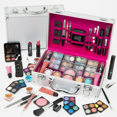 54 Pcs Make Up Set & Vanity Case Beauty Silver Cosmetics Storage Box Nails Kit