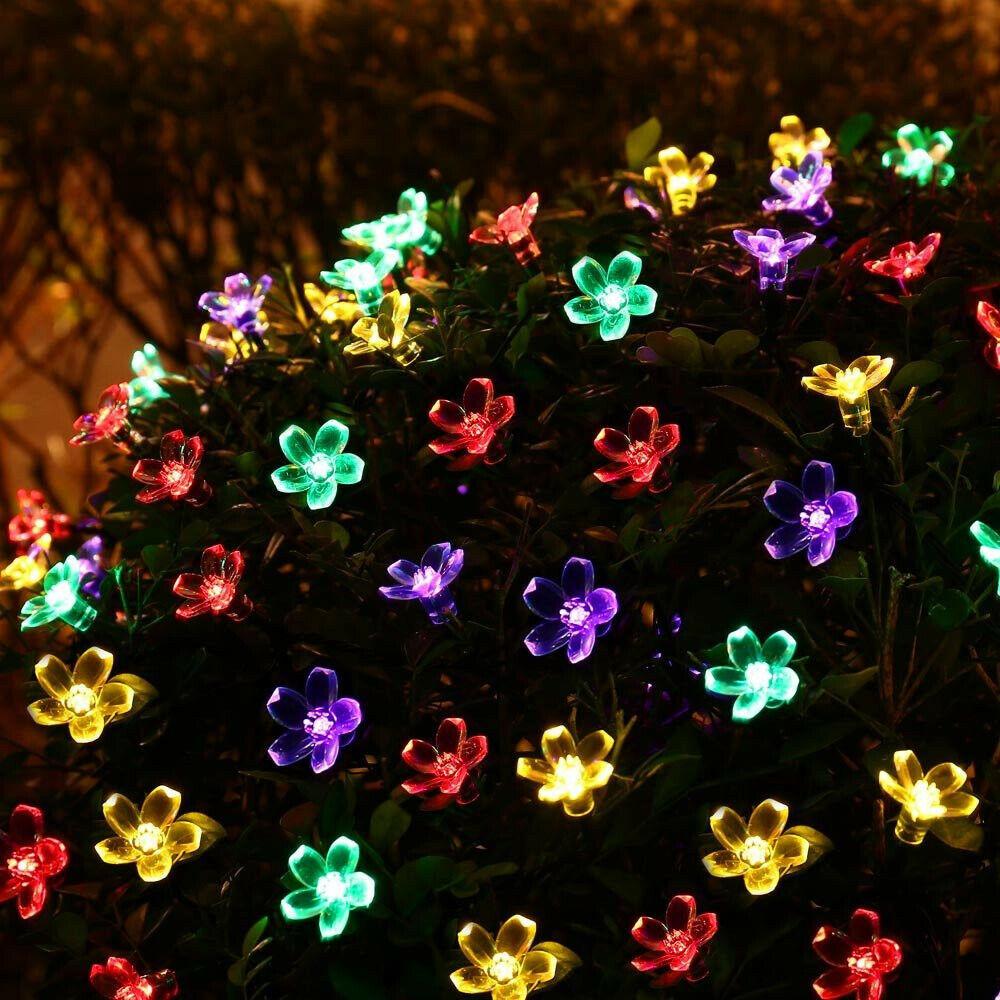 50 LED Solar Lichterkette Blumen Weihnachten Außenbeleuchtung Garten Kette Party