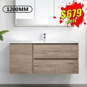 Bathroom Vanity 1200mm Wall Hung Cabinet Finger Pull Albany *NEW*
