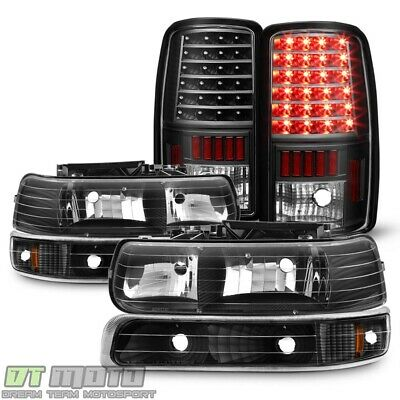 Black 2000-2006 Chevy Suburban 1500 2500 Tahoe Headlights +LED Tail Lights Lamps